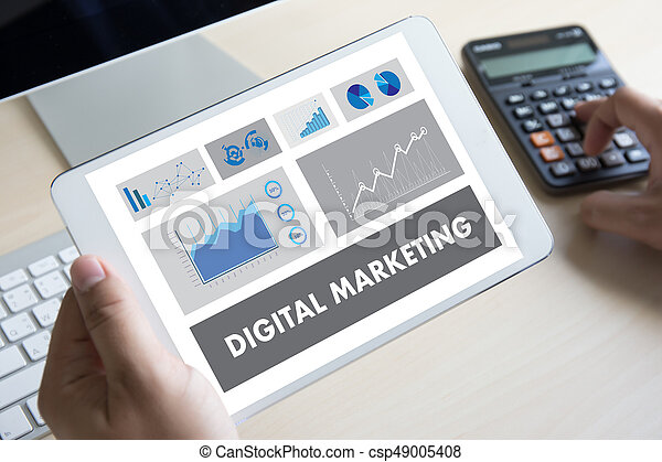 DIGITAL MARKETING new startup project , market Interactive channels , Business innovation Marketing technology concept