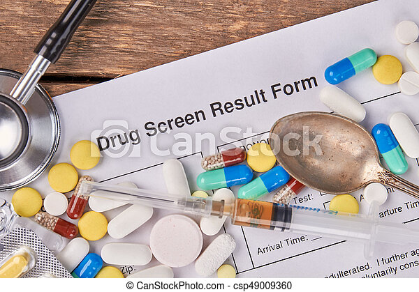 Drug screen result form, pills, stethoscope. Medicine, spoon, stethoscope, drug screen result form. Abuse of drugs harm for life.