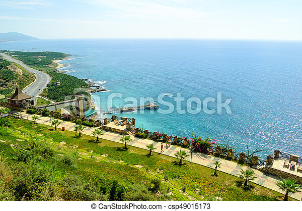 Aerial View of Beautiful Exotic Summer Coast. Travel and Vacation Concept. - csp49015173