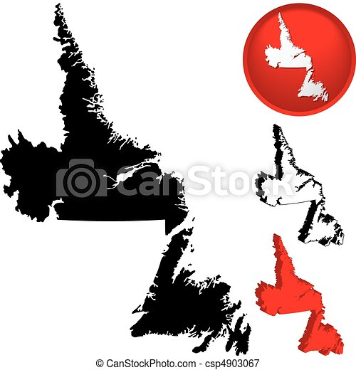 Detailed Map of Newfoundland, Canada - csp4903067