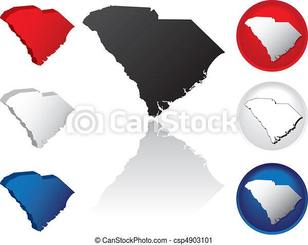 State of South Carolina Icons - csp4903101