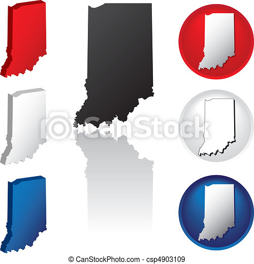 State of Indiana Icons - csp4903109