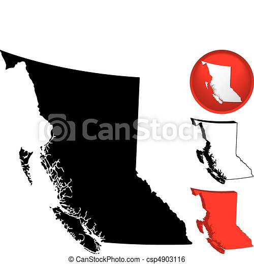 Detailed Map of British Columbia, Canada - csp4903116