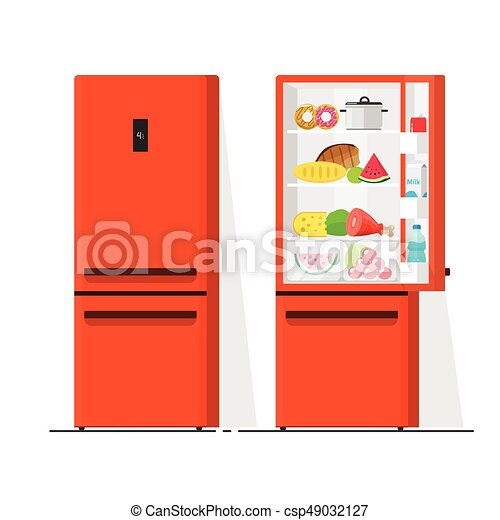 Refrigerator vector illustration, flat cartoon open and closed fridge, refrigerator full of food isolated - csp49032127