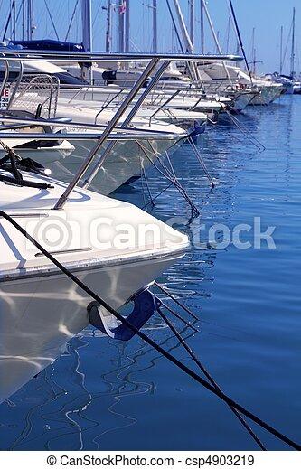 Boats bow in marina Mediterranean sea bow detail - csp4903219