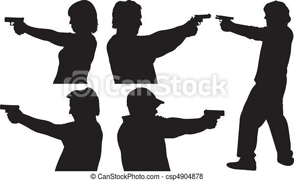 Gun Shooting Silhouettes - csp4904878