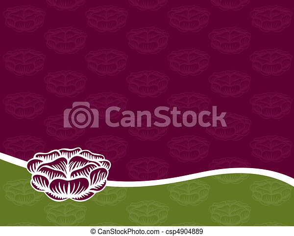 Engraved Rose on a Purple and Green Background - csp4904889