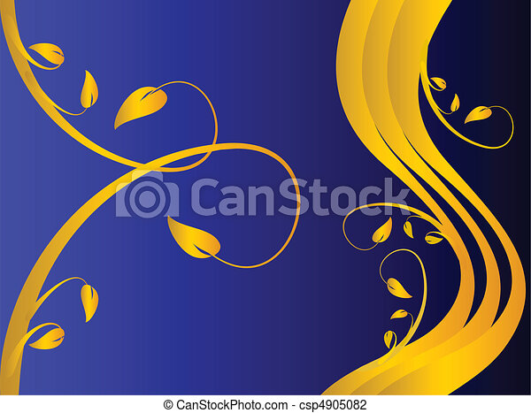 A formal blue  floral background - csp4905082