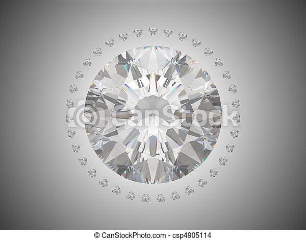 Top view of brilliant cut diamond - csp4905114