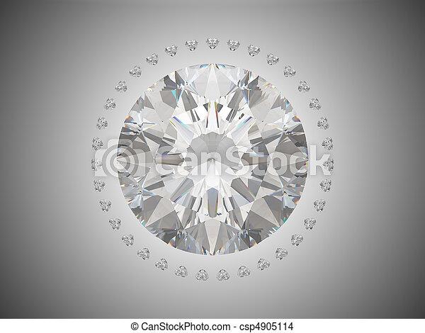 Top view of brilliant cut diamond - csp4905114