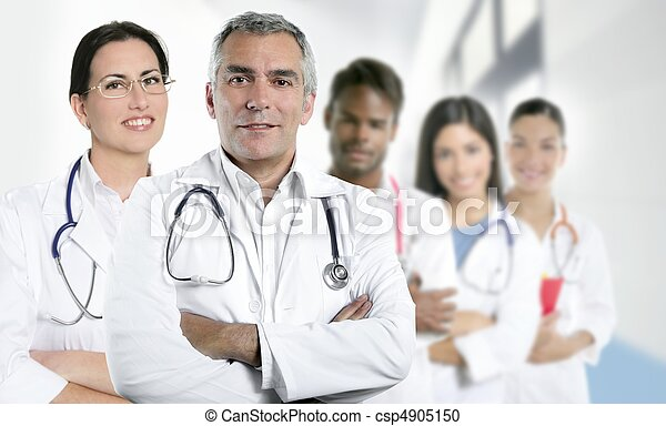 expertise doctor multiracial nurse team row - csp4905150