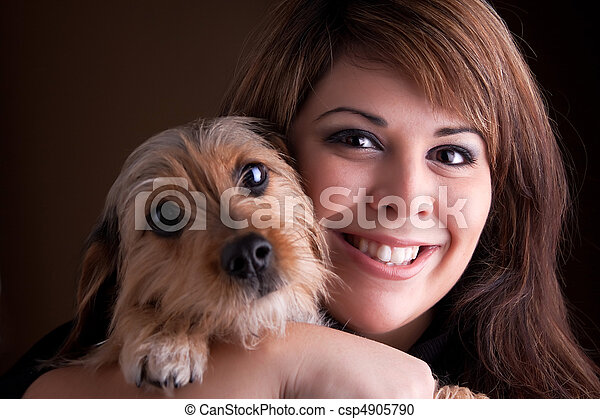 Woman and Her Pet Dog - csp4905790