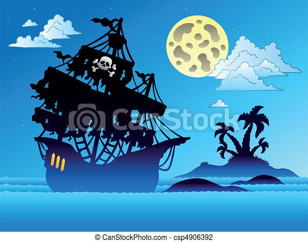 Pirate ship silhouette with island - csp4906392