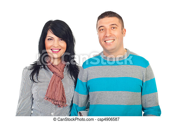 Happy couple with toothy smile - csp4906587