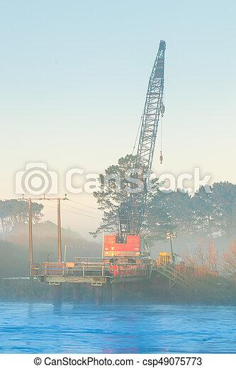 Bridge Crane Morning Mist - csp49075773