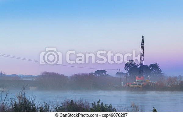 Mist Morning Bridge Crane - csp49076287