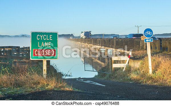 Whirokino Cycle Road Closed - csp49076488