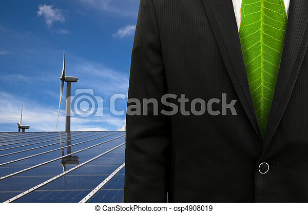 Green Business and eco energy.bussinessman with leaf tie and solar panel and windmill - csp4908019