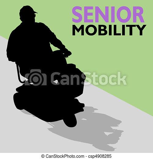 Elderly Senior Man Riding Scooter - csp4908285