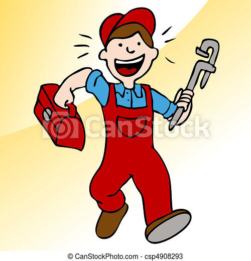 Running Plumber With Wrench and Toolbox - csp4908293
