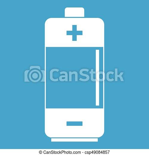 Alkaline battery icon white - csp49084857