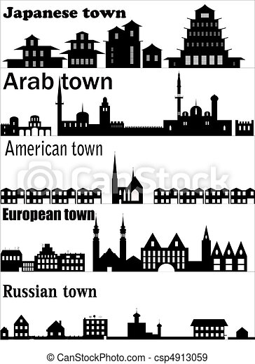 Detailed vector skylines of different towns - csp4913059