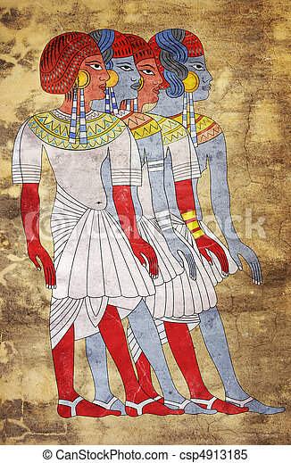 Fresco of Women of Ancient Egypt - csp4913185