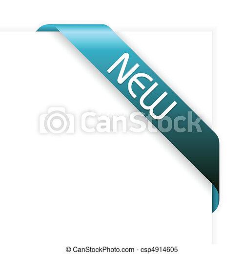 New blue corner ribbon - csp4914605