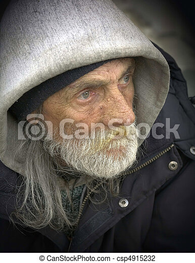 Pensive Portrait-Homeless Man - csp4915232