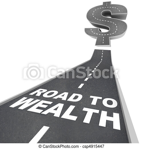 Road to Wealth - Words on Street - csp4915447