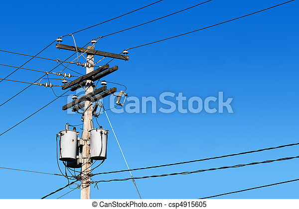 Power line post and blue sky - csp4915605