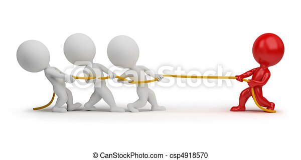 3d small people - rope pulling - csp4918570