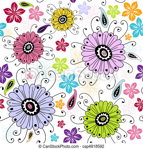 Seamless white floral pattern - csp4918592