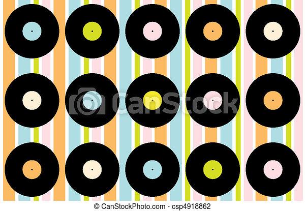 Vector Illustration of Vintage Vinyl Record Wallpaper - Abstract ...