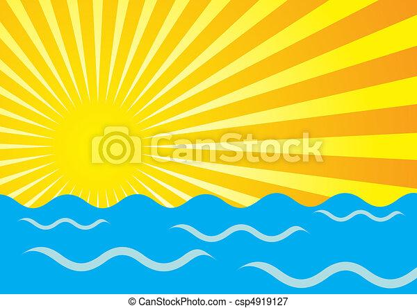 Sun Rays And Ocean - csp4919127