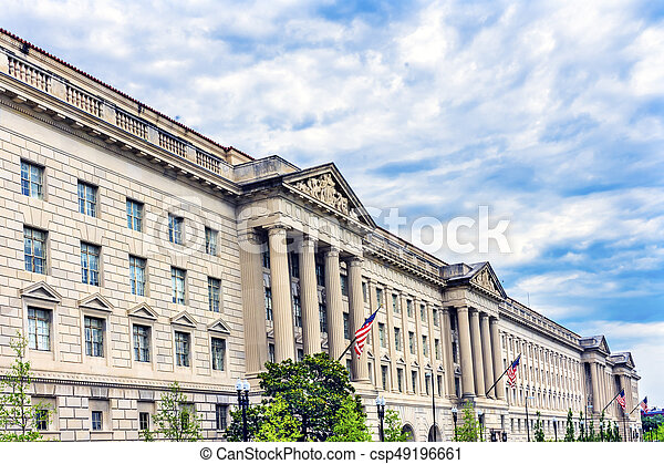 Herbert Hoover Building Commerce Department 15th Street Washington DC. Building completed in 1932. Across from the White House, Commerce has multiple departments, including the International Trade Administration, Export Administration, Import Administrati