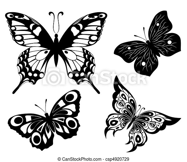Black a white set of butterflies of - csp4920729