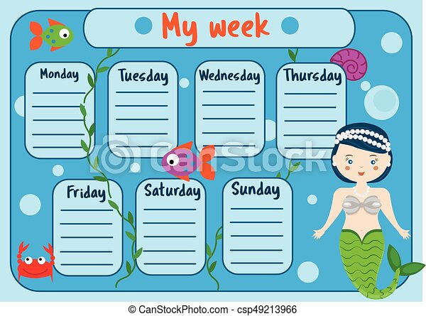 Kids timetable with cute mermaid character. Weekly planner for children girls. School schedule design template - csp49213966