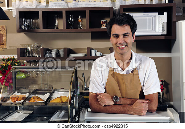 portrait of a waiter at the cafe - csp4922315