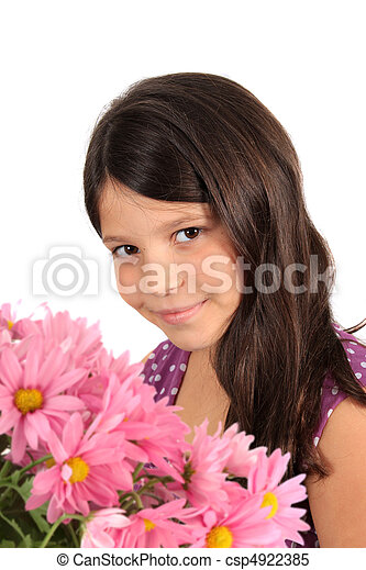 ... Pretty eight year old girl with flowers - Pretty eight year.
