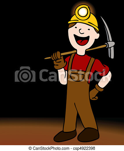 metro, minero, caricatura, carácter - csp4922398
