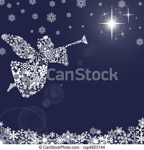Christmas Angel with Trumpet and Snowflakes 2 - csp4923144