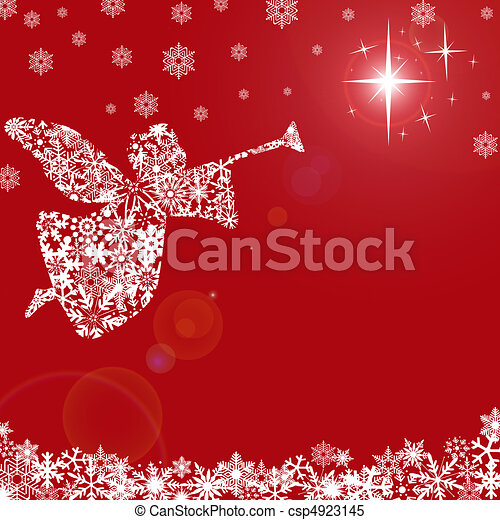 Christmas Angel with Trumpet and Snowflakes - csp4923145