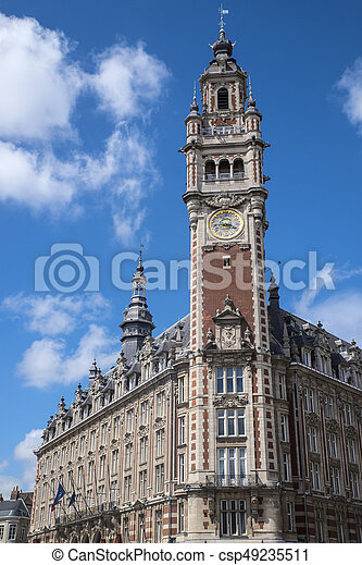 The beautiful belfry tower of the Chamber of Commerce and Industry in the historic city of Lille, France.