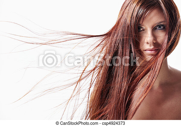 A girl with long hair - csp4924373