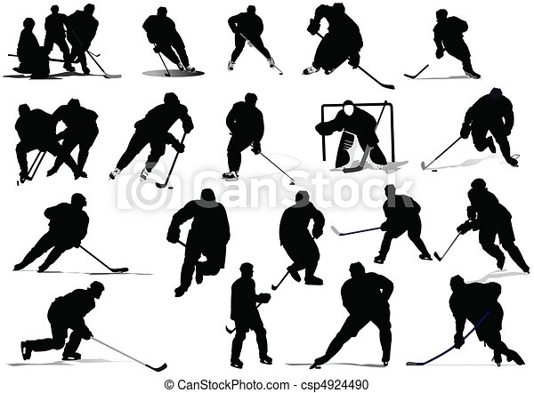 Ice hockey players. Vector illustr - csp4924490