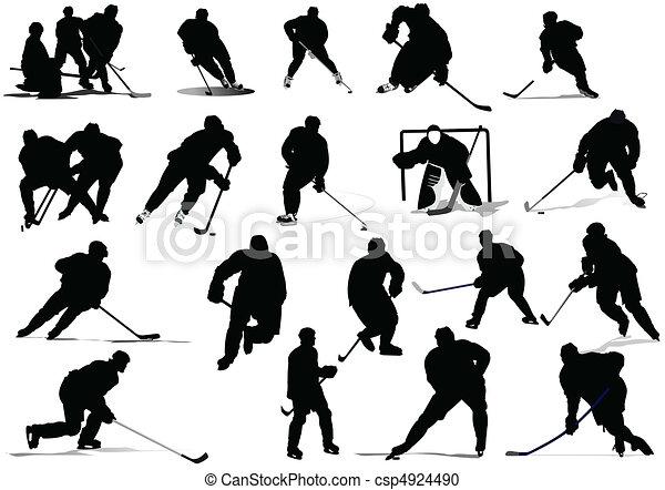 Ice hockey players. Vector illustr - csp4924490