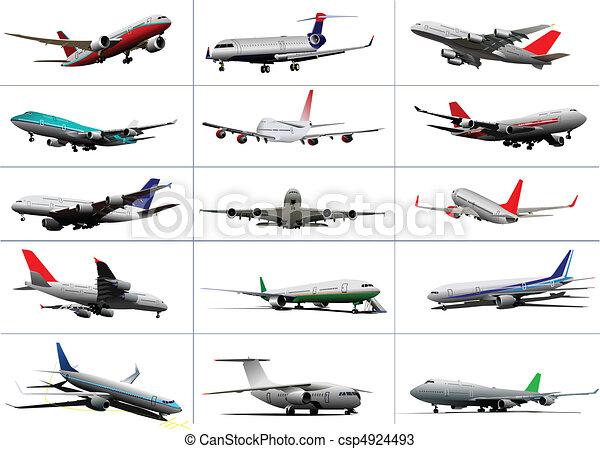 Big set of passenger planes. Takin - csp4924493