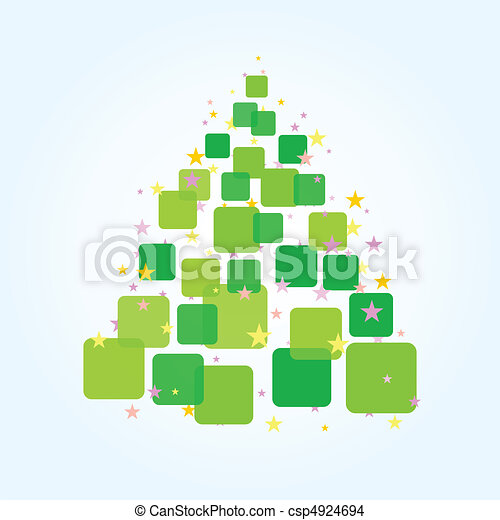 Christmas fur-tree from green squares. A vector illustration - csp4924694