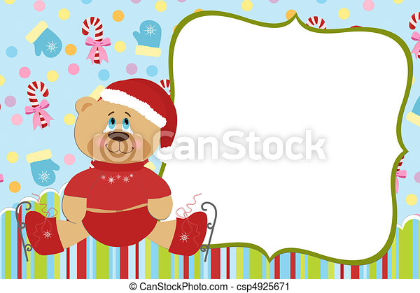 Template for baby's Xmas photo album - csp4925671